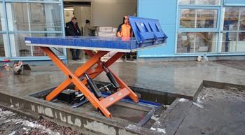 Установка ножничного подъемного стола в приямок