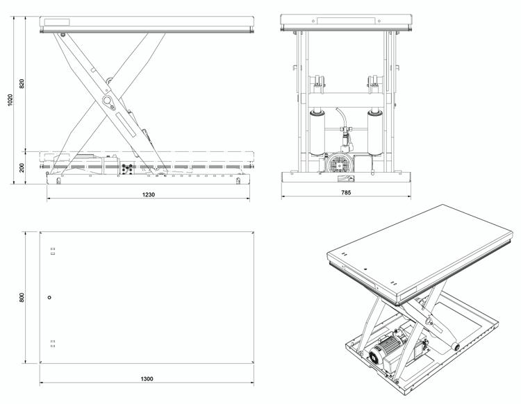 Чертеж гидравлического подъемного стола