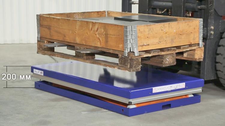 Проекция паллеты на платформу гидравлического подъемного стола